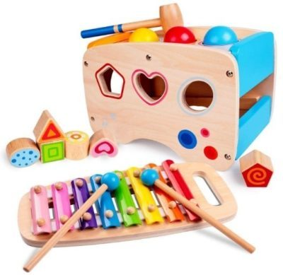 This is an image of baby wooden instrument with activity cube