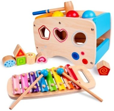 This is an image of baby wooden learning toys and music with colorful colors
