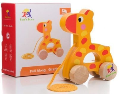 This is an image of baby wooden pull along in giraffe design