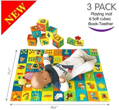 This is an image of baby toys soft blocks in colorful colors