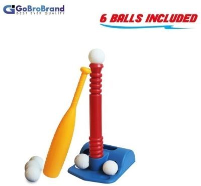 This is an image of kids baseball game set with 1 bat and 6 balls