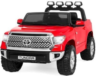 This is an image of kids toyota tandra truck with remote control in red color