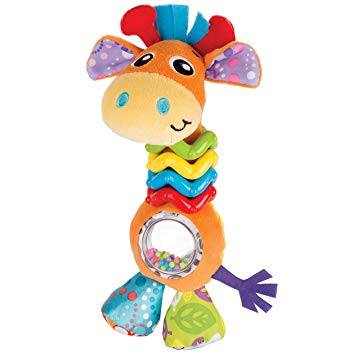 This is an image of baby toy bead giraffe in multicolors