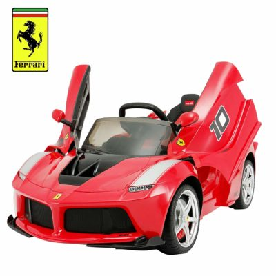 This is an image of kids ferrari electric ride on powered wheels in red color
