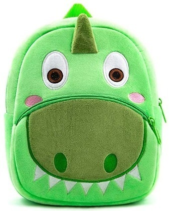 This is an image of kids green backpack for kids in dinosaur design