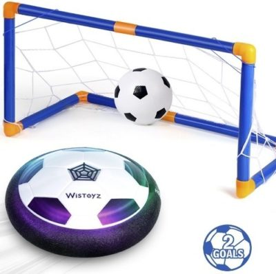 This is an image of kids hover soccer ball with 2 goals set in blue color