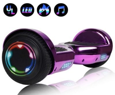 This is an image vof hoverboard with led wheels in purple color