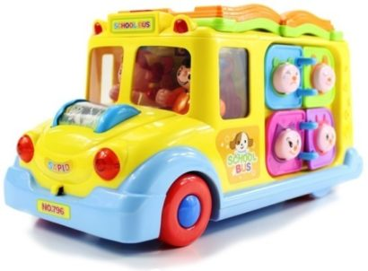 This is an image of baby educational school bus in yellow and blue colors