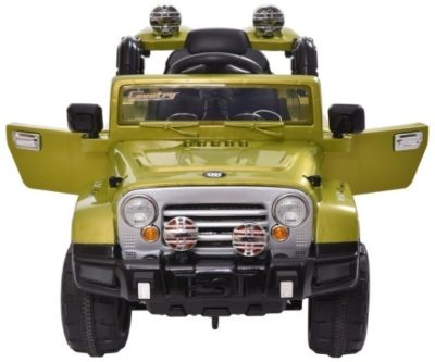 This is an image of kids jeep style truck in green color