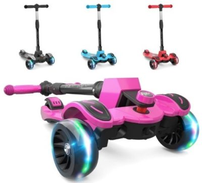 This is an image of girls kick scooter with adjustable height in pink color