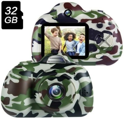 This is an image of kids camera in military colors with 32 GO memory card