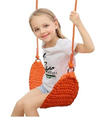 This is an image of kids swing seat in orange color
