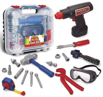 This is an image of kids construction accessories set with electronic cordless drill