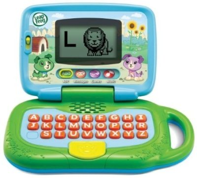 This is an image of kids leaptop laptop for kids in green colors