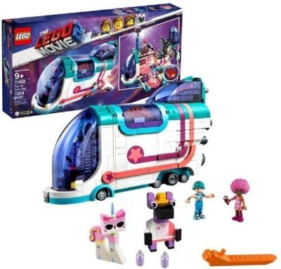 This is an image of girls lego the movie party bus