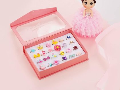 This is an image of girls jewel rings in box