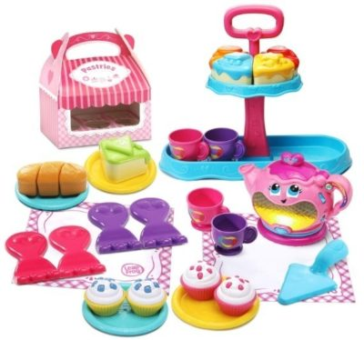 This is an image of baby girl musical deluxe tea set for girls