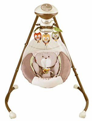 This is an image of baby swing cradle in brown color