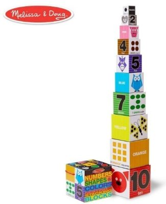 This is an image of baby nesting and stacking blocks by melissa and doug wth colorful colors