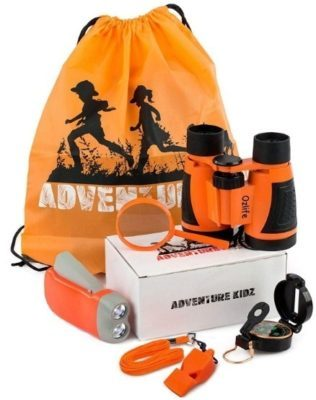 This is an image of kids outdoor exploration kit set in orange color