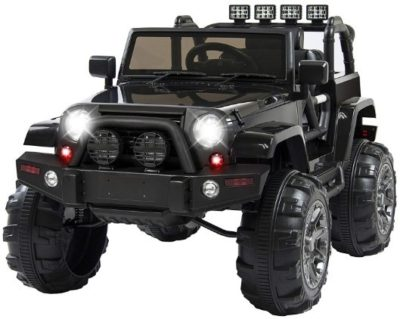 This is an image of kids power wheels truck in black color