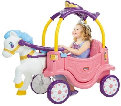 This is an image of baby princess horse and carriage in pink and white color