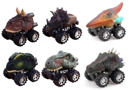 This is an image of kids pull back dinosaurs cars with 6 cars in pack in multi colors