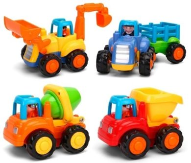 This is an image of baby push and go cars toys in different colors