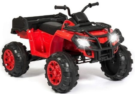 This is an image of kids quad power wheels ride on in red color