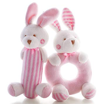 This is an image of baby rabbits bunny plushs in white and pink colors