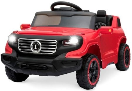 This is an image of kids ride on car truck in red and black color