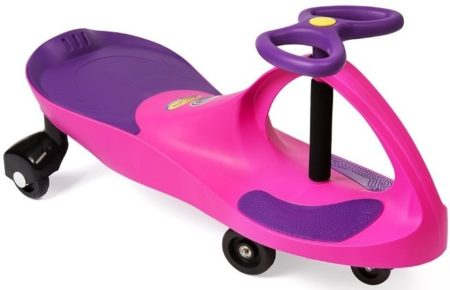 This is an image of girls ride on toy in pink and purple colors