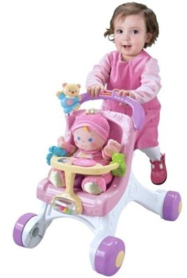 This is an image of baby stroll along walker in pink color