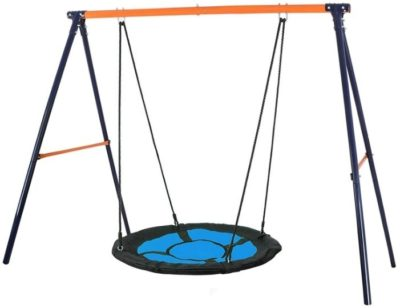 This is an image of kids swing set combo in blue and black colors