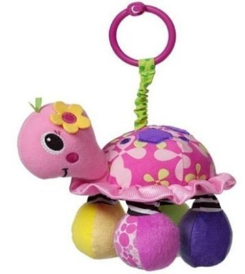 This is an image of baby turtle in pink color rattle toy