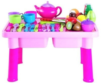 This is an image of baby girls dishes and tea set toy with folding table in pink color