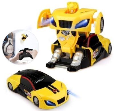 This is an image of toddler Remote control tranformers car in yellow color