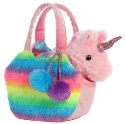 This is an image of baby girl unicron carrier plush in pink color