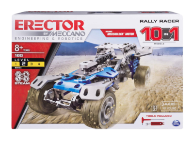 This is an image of a blue rally racer toy vehicle building set for kids.