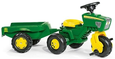This is an image of kid's john deere 3 wheels ride on in green and yellow colors