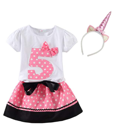 This is an image of a unicorn birthday dress set for 5 year old kids.