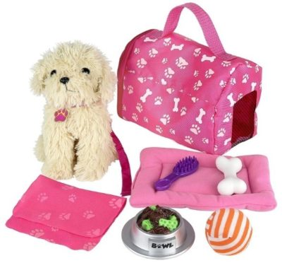 This is an image of girl's doll puppy set and other accessories in pink color