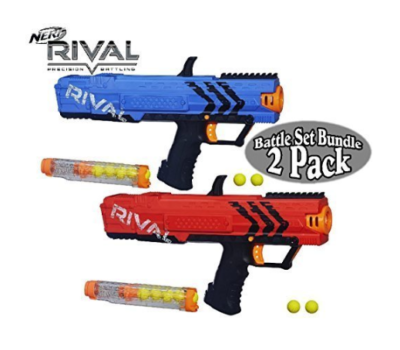 This is an image of a 2 pack red and blue Apollo Nerf Blasters.