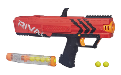 This is an image of a red Apollo Nerf blaster.