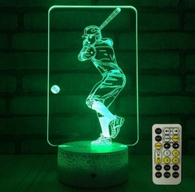 This is an image of boy's Basebal lamp with remote in green color