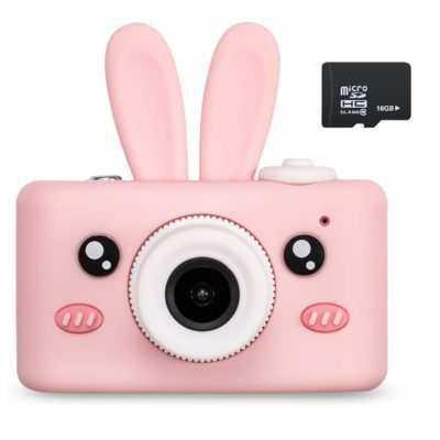 This is an image of a pink rabbit camera with micro SD card.