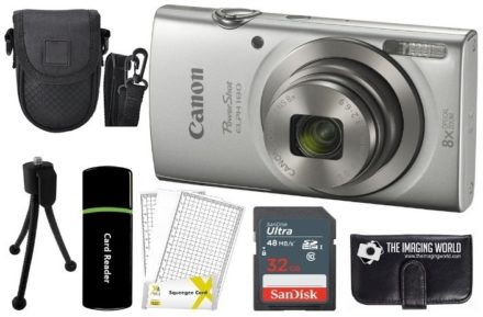 This is an image of teen's canon powershot with all accessories in gray color