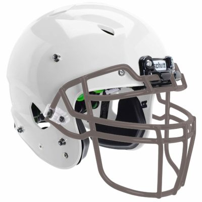 This is an image of a white and gray youth helmet.