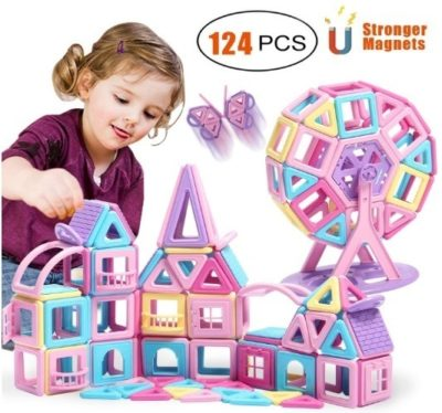 This is an image of girl's magnetic blocks in castle design and colorful colors