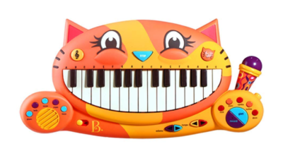 This is an image of an orange cat keyboard for toddlers.